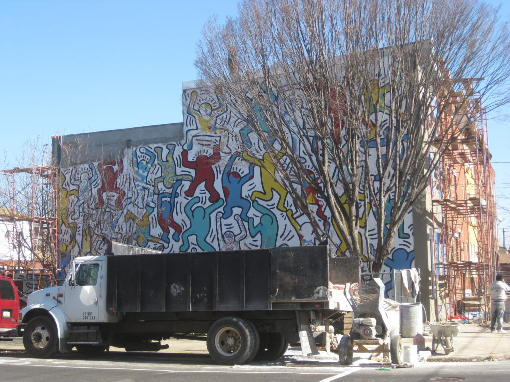 Haring mural restored in point breeze ocf realty for Construction mural